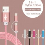 2in1 microUSB&Lighting Charging Cable 1.5m(Pink)